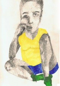 Bored.-Self-Portrait-while-doing-yoga-42.0-x-59.4cm-Graphite-and-Pen-on-Hahnemuler-paper